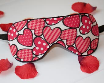 Red hearts sleeping mask - Valentines Day Gift