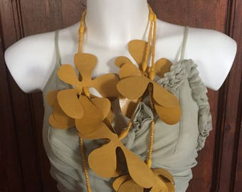 Yellow mustard FLOWERS necklace