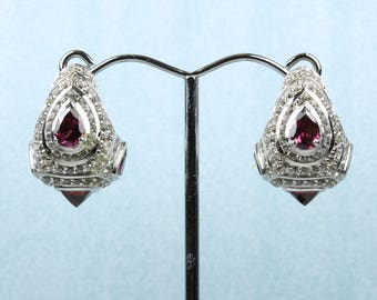 Art Deco Style Sterling Silver Pink Tourmaline Drop Earrings