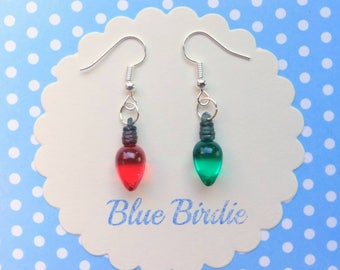 Green and red christmas tree light earrings Christmas jewelry Christmas earrings holiday jewelry dangle earrings Christmas gifts