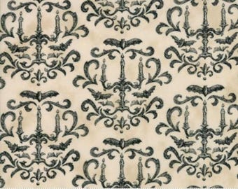 Halloween fabric by the yard- Moda- Eerily Elegant- Deb Strain-19812 12- Parchment with black chandeliers- black bats-candelabra