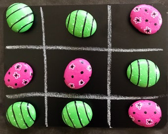 TIC TAC TOE Game Painted Rocks Set--Customizable @MoonRocksArt
