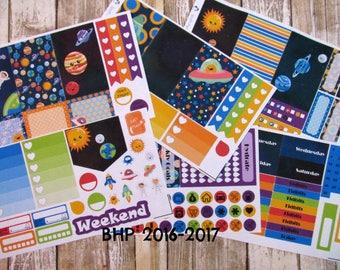 Space Planner Sticker Set, BIG Happy Planner stickers, solar system weekly sticker set, eclipse weekly