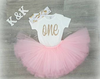 Baby girl first birthday outfit , First Birthday Dress, 1st Birthday Girl Outfit Dress, one year old girl birthday outfit,  Pink and Gold