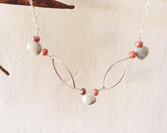 Grey and Coral Polished Jasper Necklace