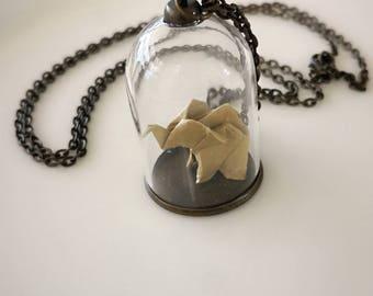 Elephants Origami Necklace ,Japanese Washi Paper,Terrarium Nacklace,Glass Bottle , New mum gift