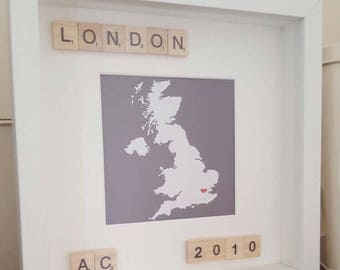 Map, couples initials, anniversaries, special occasions frame