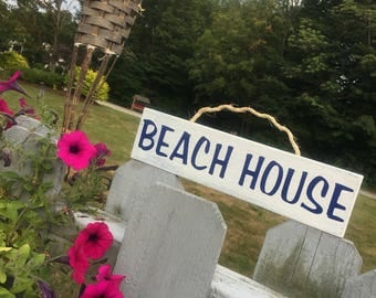 Beach House Weathered Wood Wall Sign