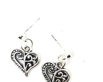 Silver heart earring and necklace set