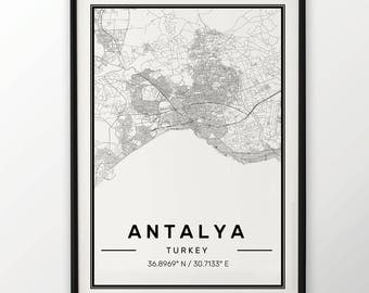 Antalya City Map Print Modern Contemporary poster in sizes 50x70 fit for Ikea frame 19.5 x 27.5 All city available London New York Paris