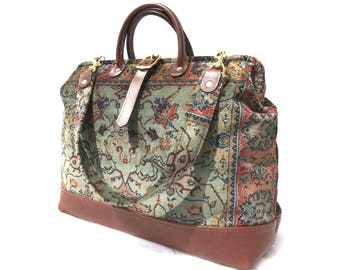Carpet Bag with Leather Bottom, Size Medium, Hand made in England. Free shipping.