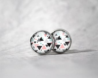 Earrings cabochon 10 mm / triangle pattern
