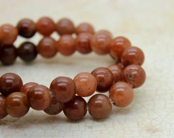 "Red Jasper Smooth Round Gemstone 8mm 10mm Beads (8"" strand - 2.5 mm hole)"