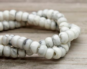 """Natural Howlite Rondelle Gemstone Beads 8"""" strand (5mm x 8mm beads, 2.5 mm hole)"""