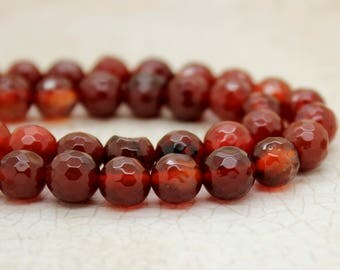 Carnelian Faceted Round Gemstone Beads (8mm)