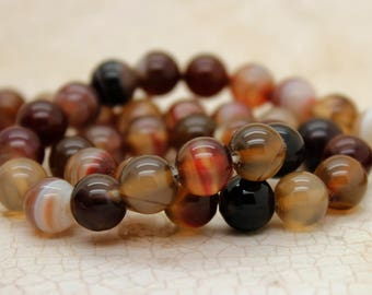 Sardonyx Agate Smooth Round Gemstone Beads