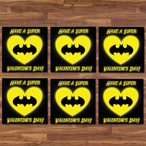 Batman Valentine's Day Cards - Batman School Valentines - Black & Yellow Logo - Batman Party Printables - Superhero Valentine's Day Cards