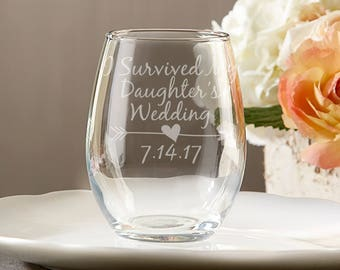 Mother of the Bride Gift Ideas - I Survived My Daughter's Wedding - Mother of the Bride Stemless Wine Glass - Engraved Wedding Wine Glass