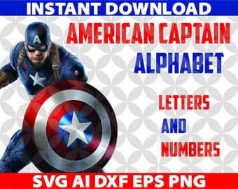 American Captain Alphabet SVG Letters Ai Png Eps Dxf Cut Cutting Birthday Invitation Logo Team Movie Fonts Font Digital