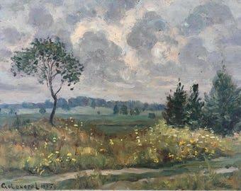 """Oil painting. Artist Slovokhotov V. 1995. Summer landscape. """"After the rain"""". Original Soviet Ukrainian Art. Impressionism. Vintage. (4156)."""