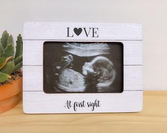 Personalized Ultrasound Frame Sonogram Frame Baby Shower Gift Pregnancy Frame Love at First Sight Frame