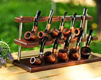 Tobacco Pipe rack for 10 Smoking pipes KAF10/Holder for 10 Pipes/Handmade stand from ASHTREE/Pipe stand/Display stand/Tobacco pipe shelf