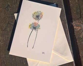 Dandelions watercolor pencil card