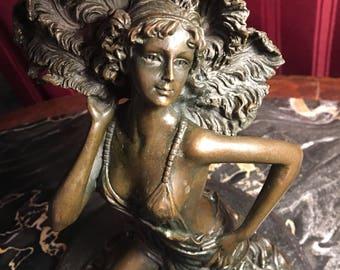 Stunning Bronze Sculpture of Bronze Lady artist Claire Jeanne Roberte Colinet