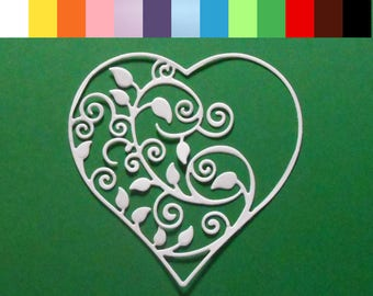 "4 Intricate Flourish Heart Die Cuts - 3 1/8"" X 3 1/8"" Choose a Color Cardstock Paper Hearts, Embellishments, Scrapbooking, Card Making"