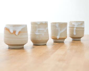 Handmade coffee cups, set of 4, white ceramic pottery cups for coffee or tea