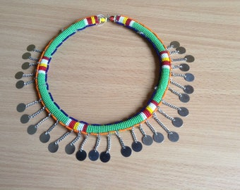 African tribal necklace, african jewelry, ethnic choker necklace