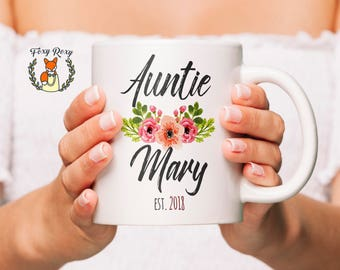 Auntie Mug | Aunt Gift | Auntie Gift | Gift for Aunt | Pregnancy Reveal | Est 2018 | New Aunt Gift | Custom Mug | Coffee Mug | CM-118