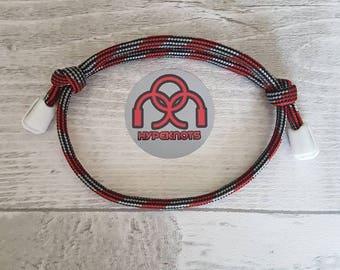 Paracord bracelet , shoelace cord bracelet,unisex bracelet, sliding knot bracelet, adjustable bracelet,men and women accessories, red/ grey