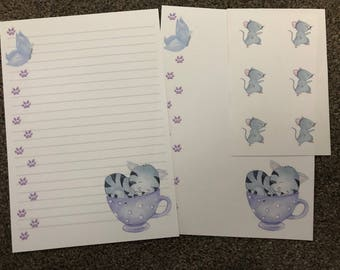 Cute sleeping grey cat in teacup letter writing paper & sticker set
