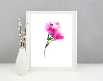 Peony Print. Peony Wall Art. Peony Watercolor. Peony Wall Decor. Peony Artwork. Peony Art Print. Peony Art. Pink Peony Botanical Art Print.