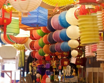 """Photography colorful paper lanterns photograph red green blue purple China town wall art """"Paper Lanterns"""""""