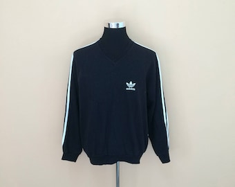 Vintage Adidas V-Neck Sweatshirt Embroidery Small Logo