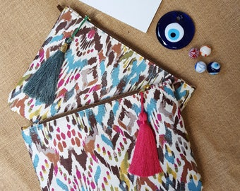 patterned clutch, handmade clutch, clutchbag, lentiginous bag, tassel bag, lentiginous clutch, pattern clutchbag
