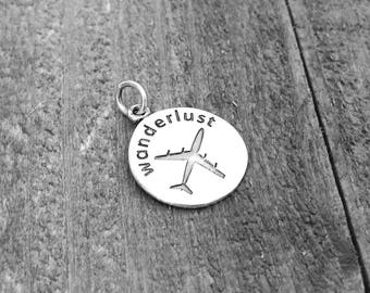 Sterling Silver Wanderlust Charm, Travel Charm, .925 Sterling Silver, SS059