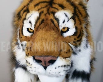 Tiger headdress animal friendly /cruelty free life-size reproduction