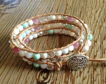 Wrap bracelet, triple wrap bracelet, beaded wrap bracelet, leather wrap bracelet