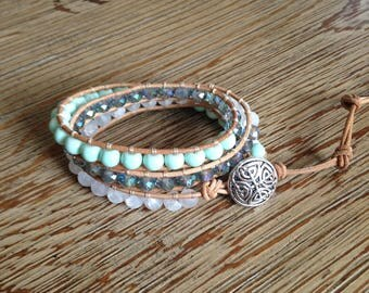 Wrap bracelet, leather wrap bracelet, beaded wrap bracelet