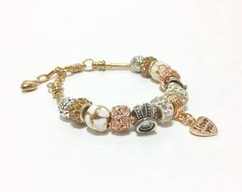 Handmade Glass Bead Pink & White Heart Bracelet