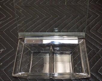 "Mid-Century Modern Hinged Glass Cigarette/Trinket/Candy Dish 8"" x 5.5"""