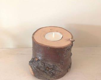Medium Rustic Wood Stump Tea light holder