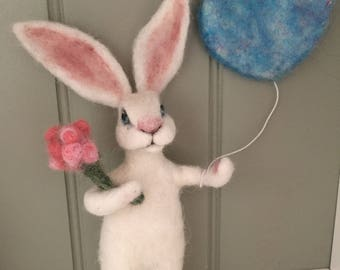 Happy Hare Special Occasion Gift/Handmade/Rabbit/Needle Felted/Personalised to order/Birthday Cake Topper/Keepsake/Unique Gift