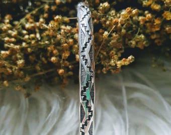 Vintage southwestern Sterling silver cuff bracelet. .925 silver vintage cuff