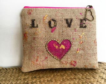 "Clutch / pouch / ""Love"" burlap canvas painted and embroidered by hand."