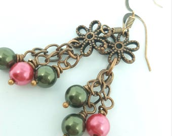Salmon and Olive drop earrings