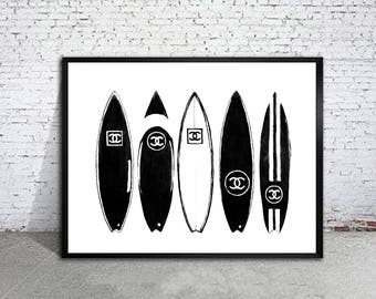 Chanel surfboard art print Chanel poster Chanel warecolor Chanel home decor Chanel wall decor Chanel painting
